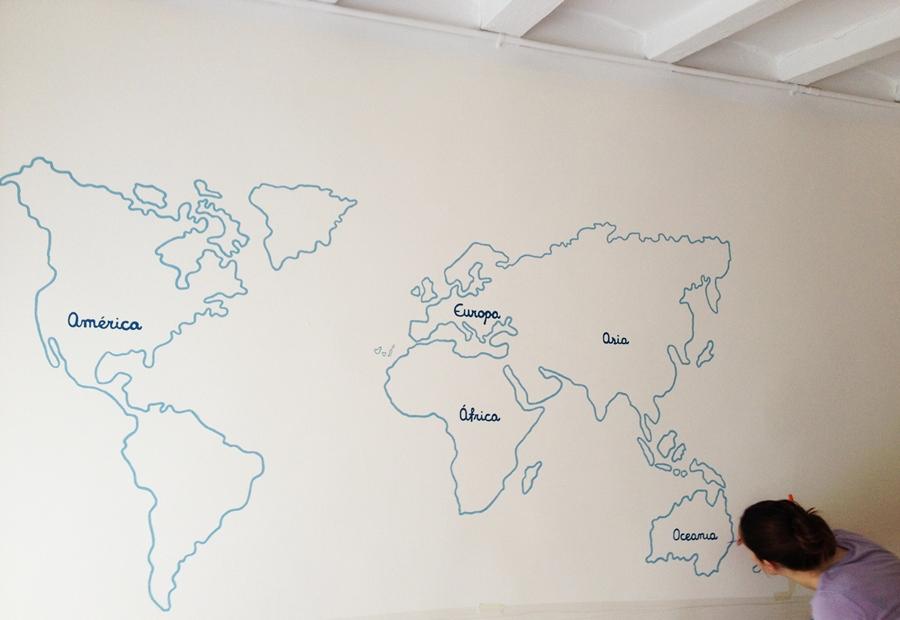 Un mural original en la habitaci n de mi beb room room beb - Papel pintado mapamundi ...