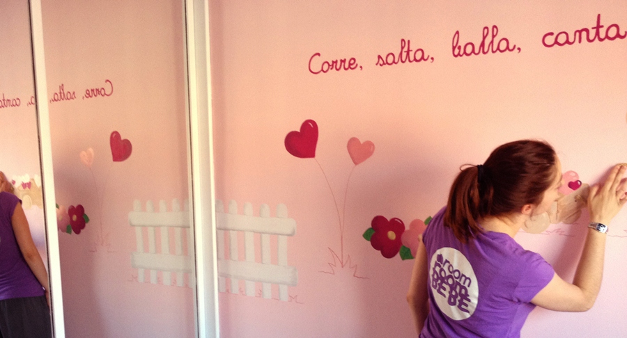 Un mural original en la habitaci n de mi beb room room beb - Dibujos para habitacion nina ...