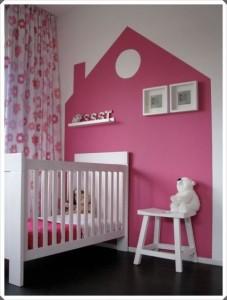 cabecero infantil original vinilo cabecero casita rosa pintado