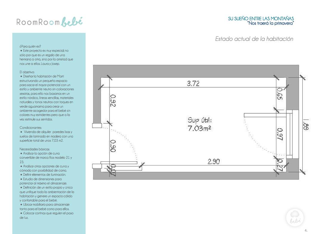 Diseñar la habitación para un bebé en un pequeño espacio, con estilo nórdico y ambiente neutro. Materiales naturales. Verde aguamarina. Mural de montañas