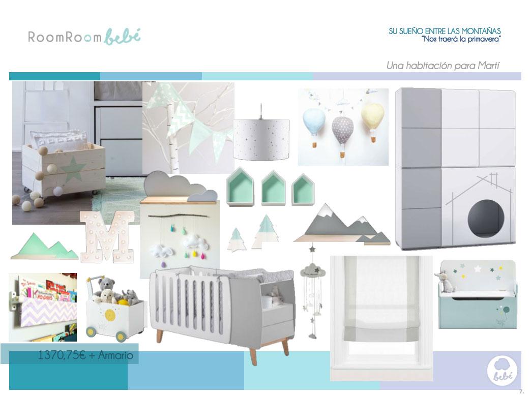 Habitaciones de bebés: la habitación para un bebé en un pequeño espacio, con estilo nórdico y ambiente neutro. Materiales naturales. Verde aguamarina. Mural de montañas